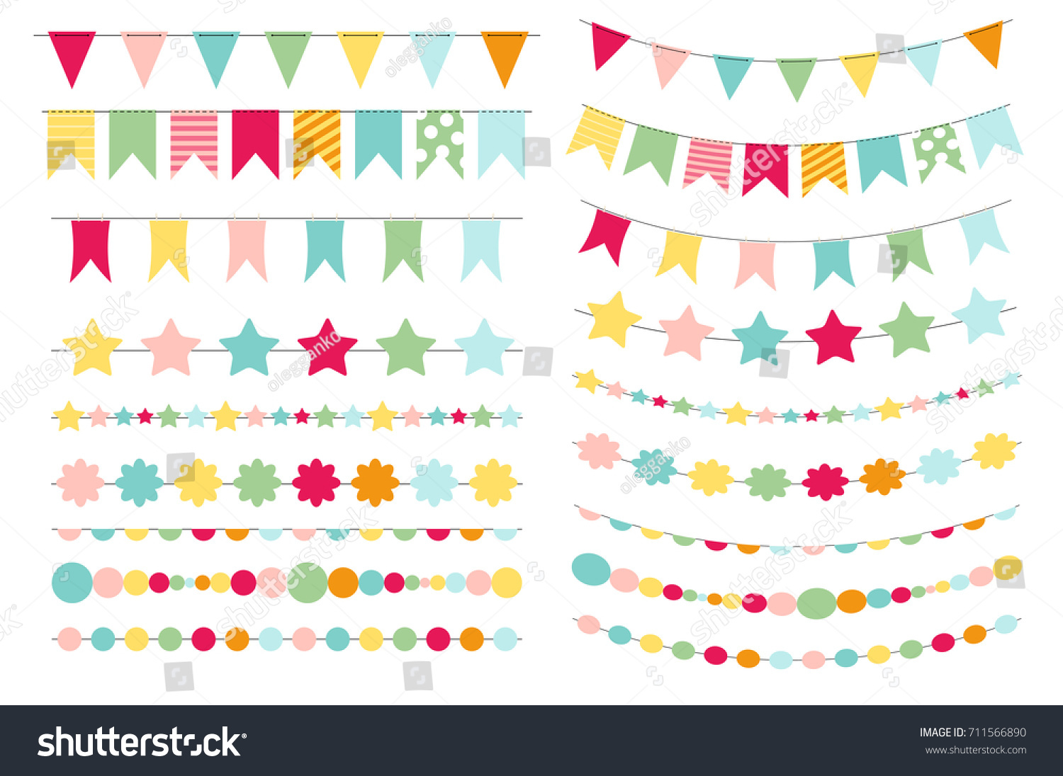 Party Flags Buntings Creating Party Invitation Stock Vector ...