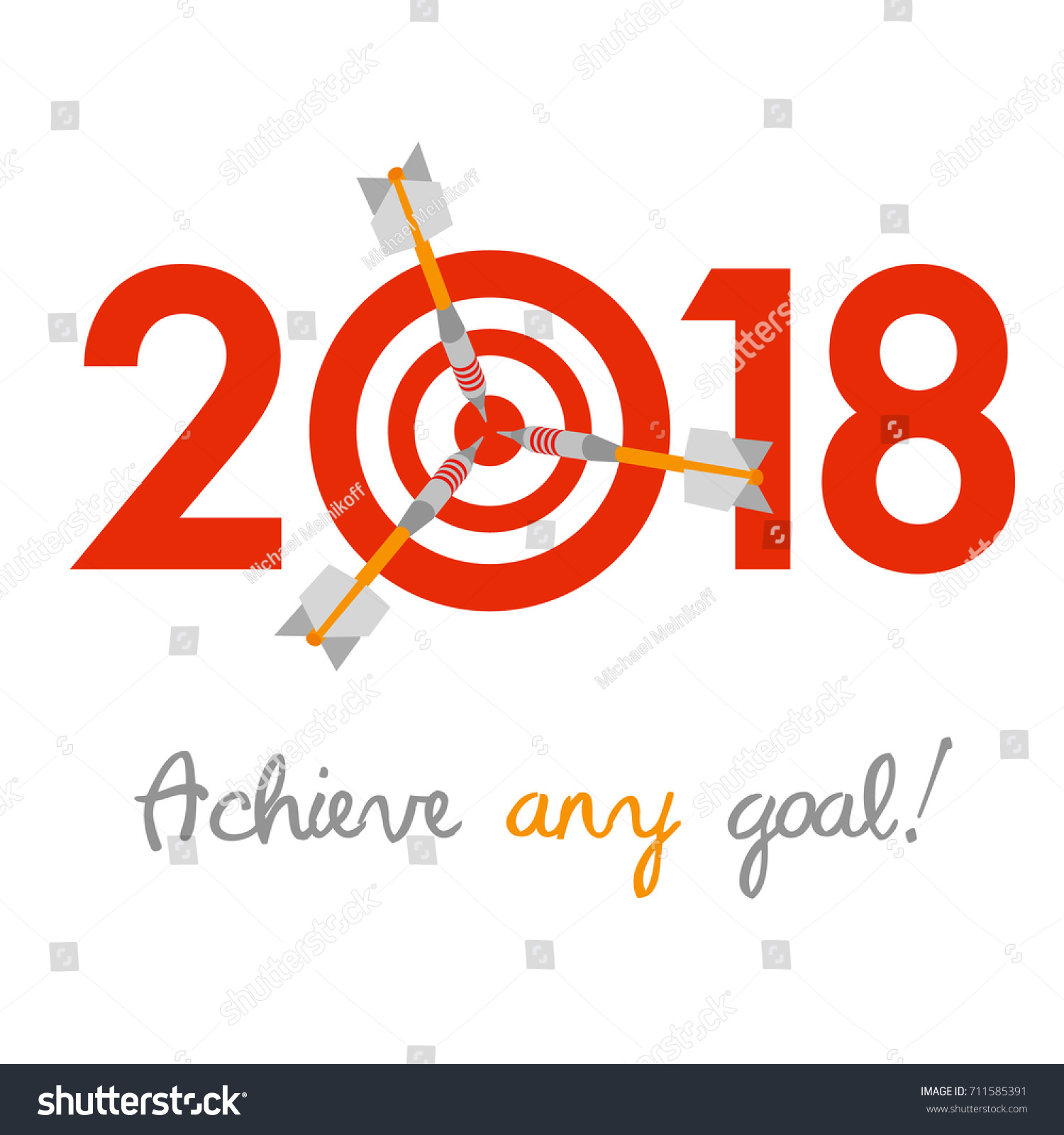 New year 2018 business concept target stock vector 711585391 new year 2018 business concept target with three darts instead of zero symbol of buycottarizona Image collections