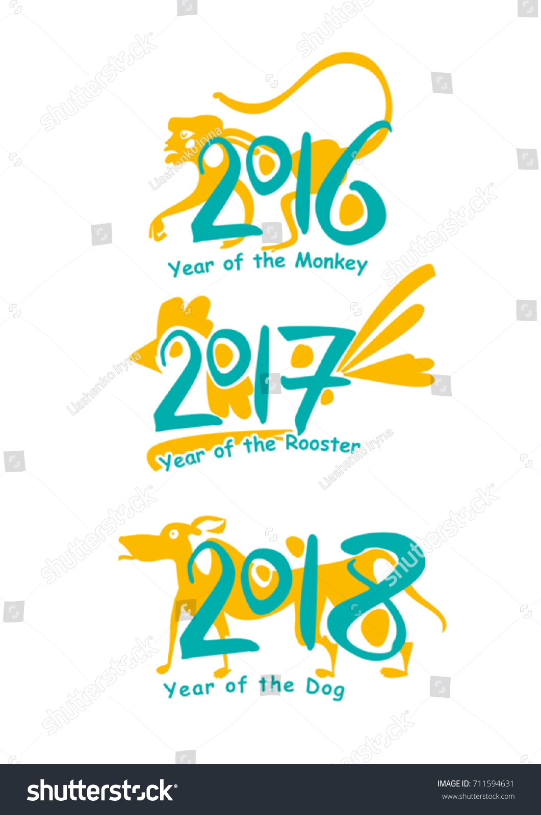Monkey 2016 rooster 2017 dog 2018 stock vector 711594631 shutterstock monkey 2016 rooster 2017 dog 2018 vector template handwritten figures symbols of buycottarizona Gallery