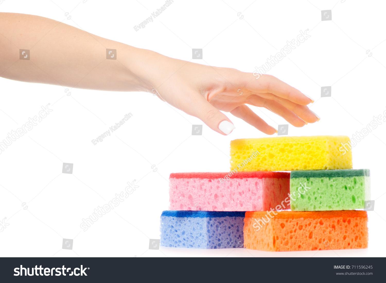 Female Hand Kitchen Dish Sponge Washing Stock Photo (Download Now ...