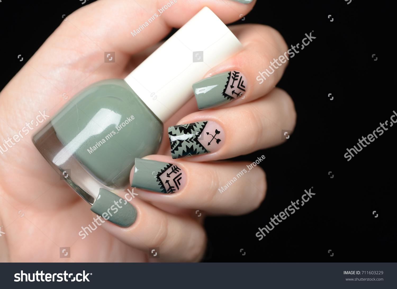 Khaki Nail Polish Manicure Aztec Boho Stock Photo (Royalty Free ...