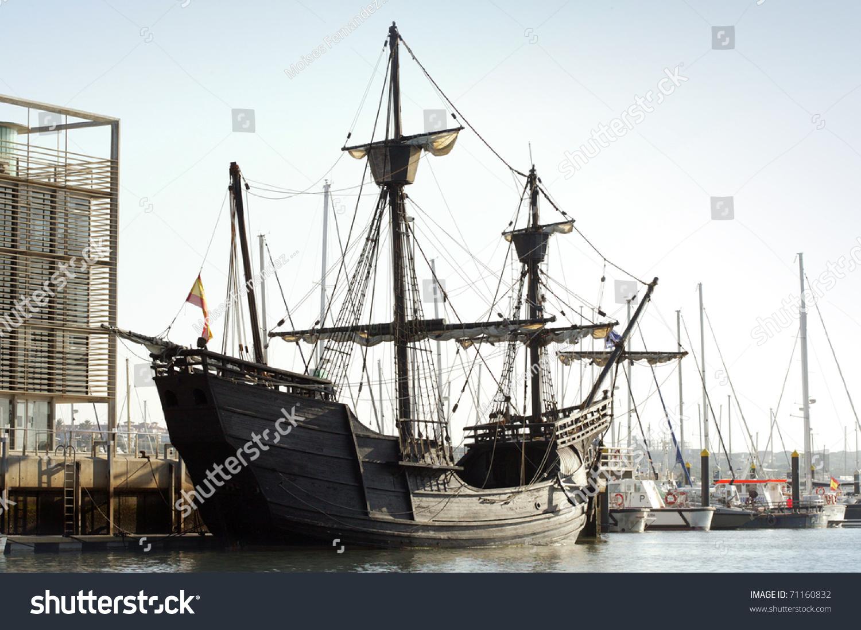 replica spanish old ship port stock photo 71160832 shutterstock