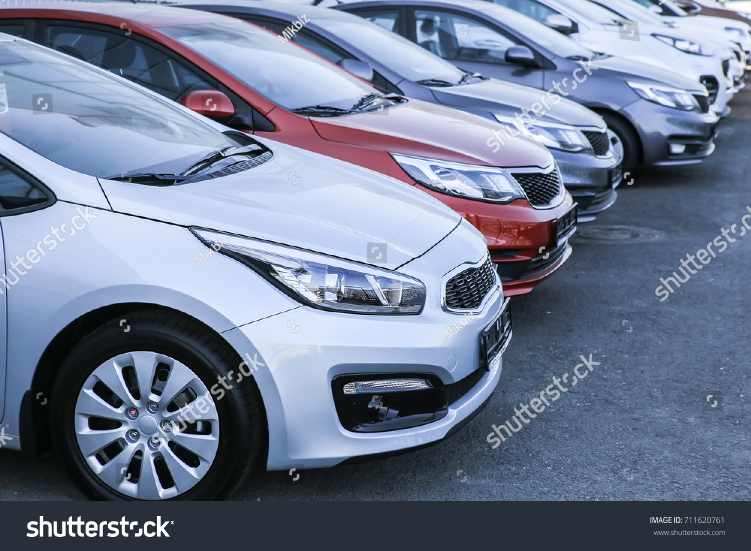 Cars For Sale Stock Lot Row. Car Dealer Inventory #711620761