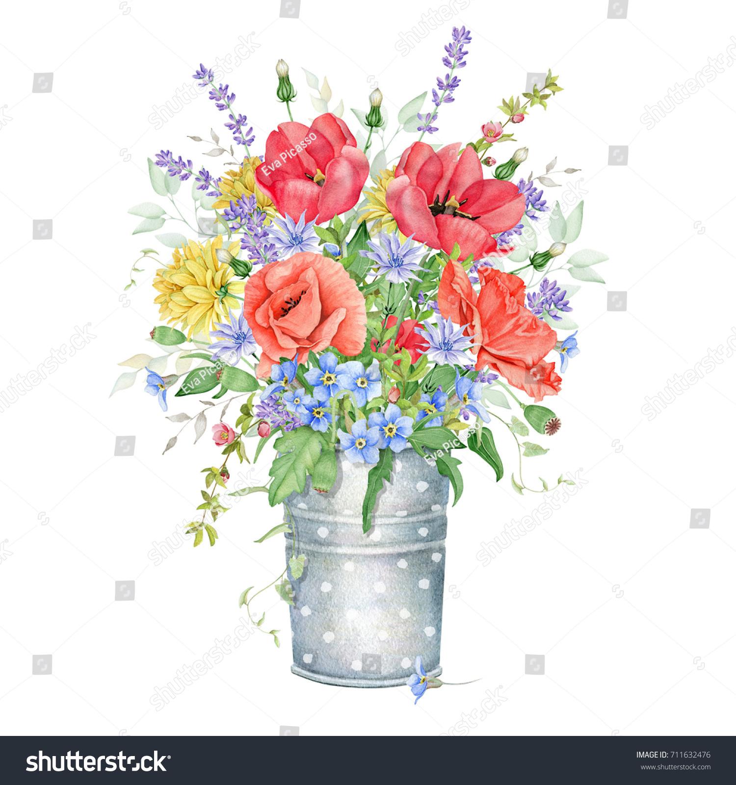 Watercolor Floral Bouquet Meadow Flowers Stock Illustration