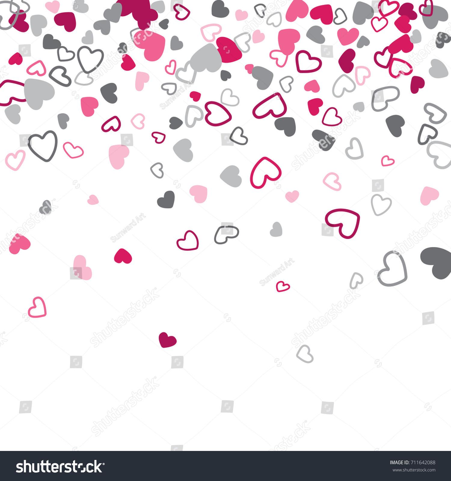 Gray And Pink Hearts: Romantic Cartoon Drawing Grey Pink Hearts Stock Vector