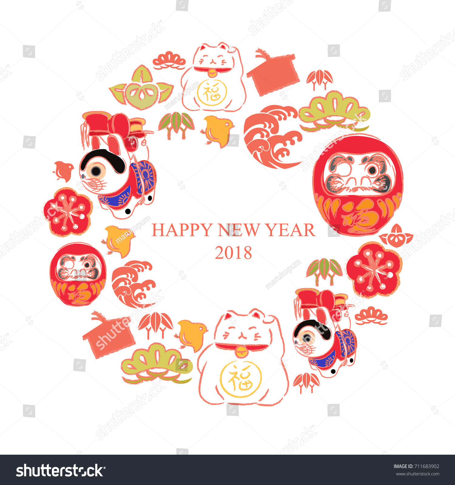 new year card greeting card in japanese elements and good luck symbols icon set for