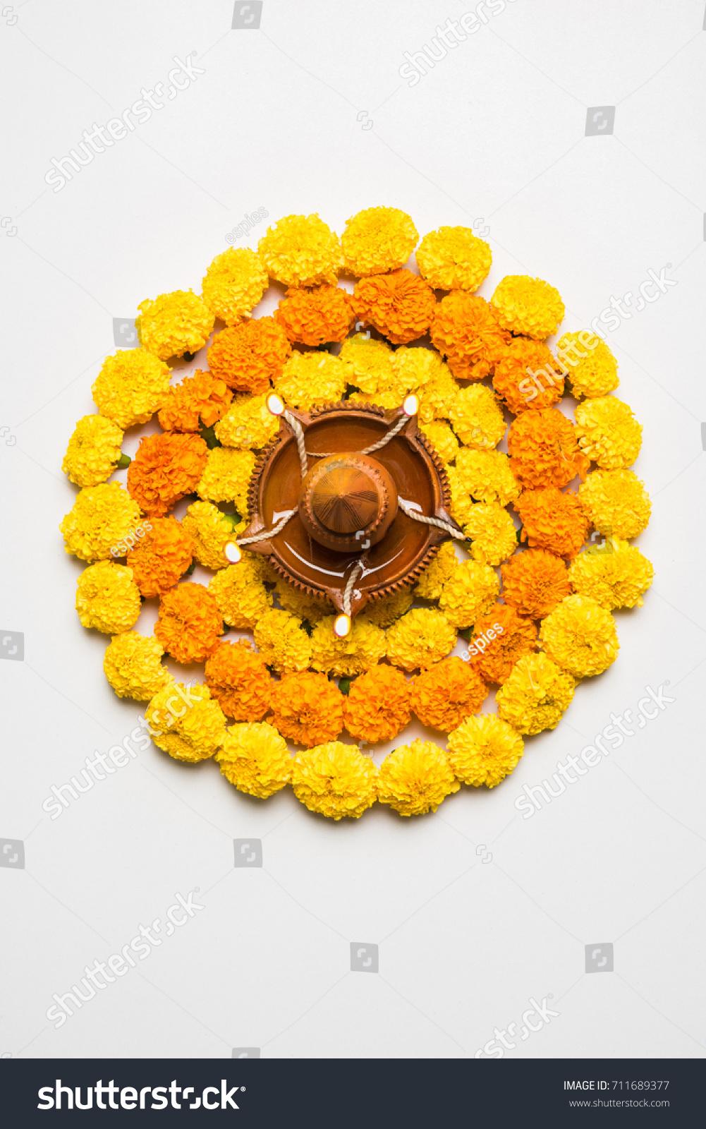 Flower Rangoli Diwali Pongal Onam Made Stock Photo Edit Now 711689377