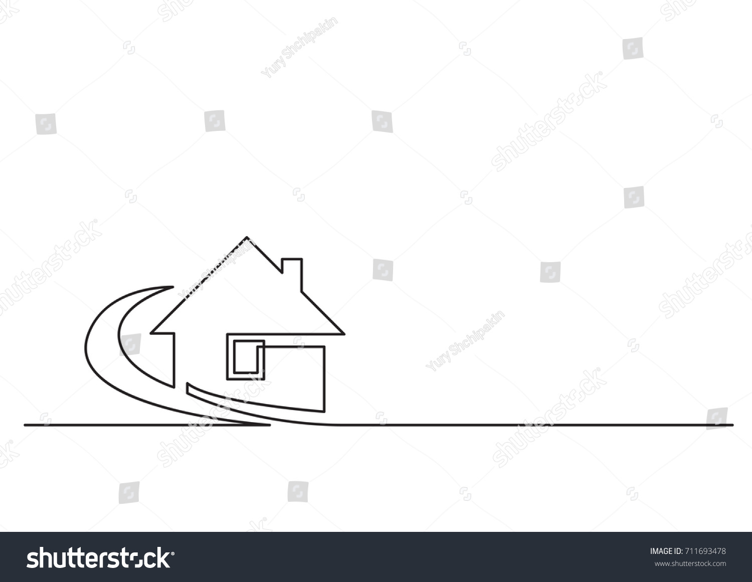 Single Line Text Art : One line logo design real estate stock vector  shutterstock