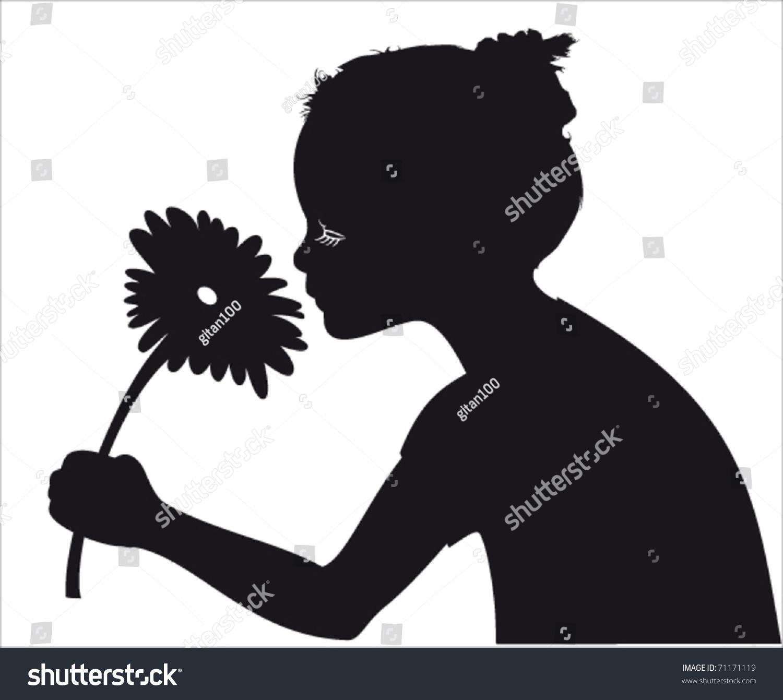 Girl Smelling Flower Vector Silhouette Stock Vector ...