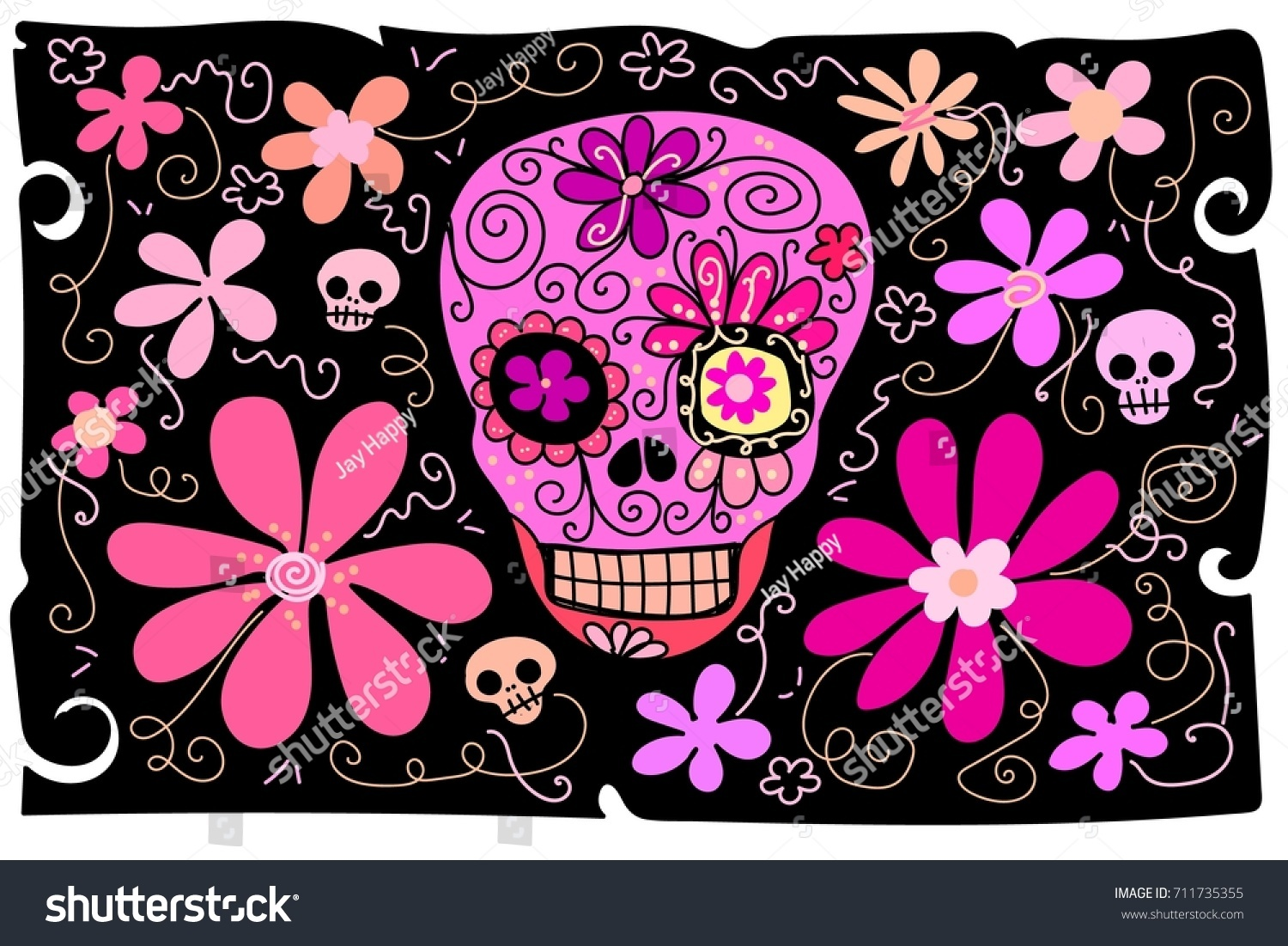Flower Background Cartoon Skeleton Sugar Skull Stock Vector