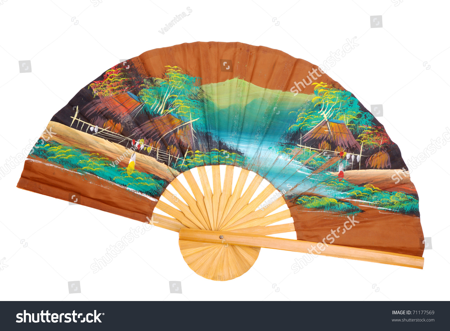 chinese decorative fan on a white background - Decorative Fans