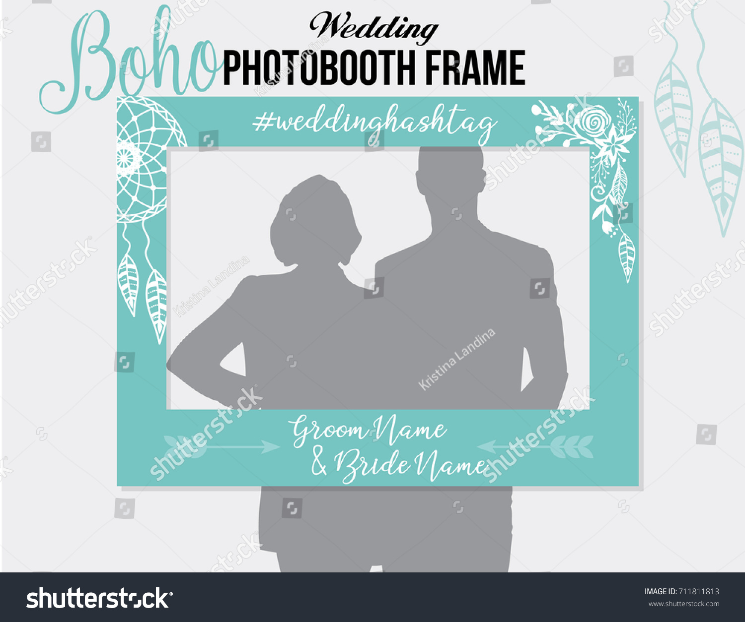 Boho Style Photobooth Wedding Frame Hashtag Stock Vector Royalty