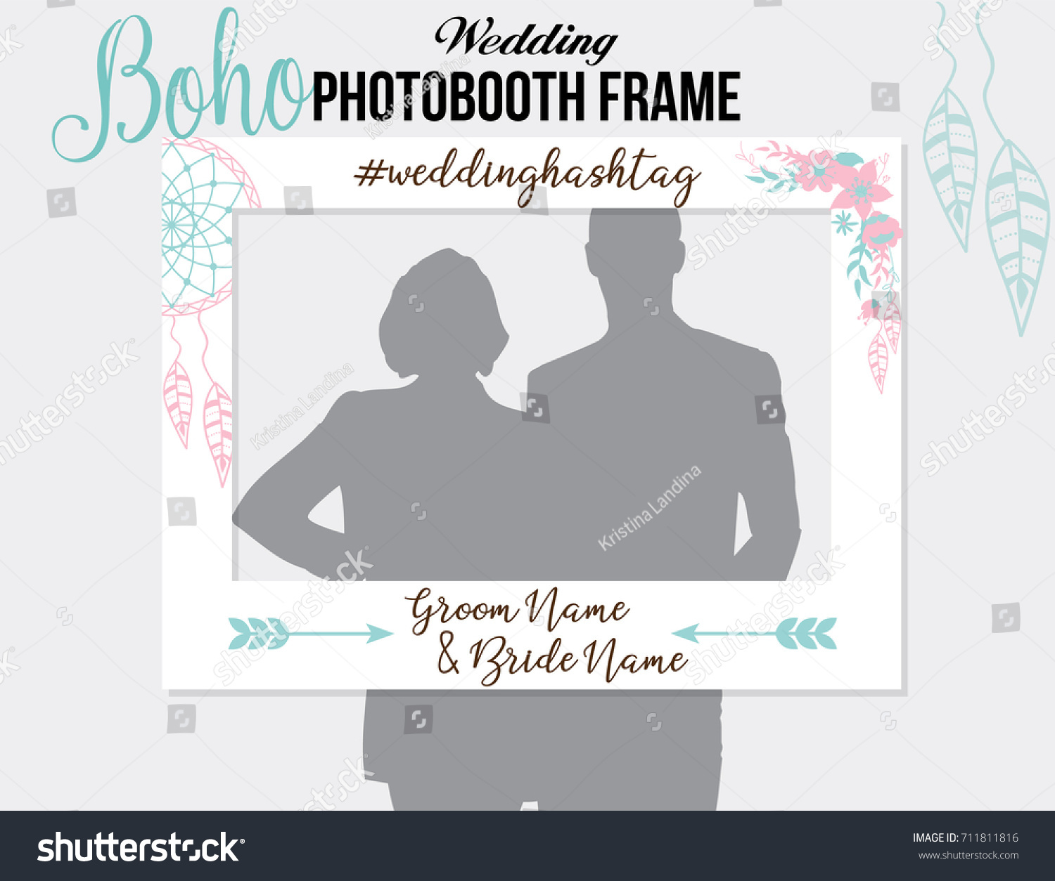 Boho Style Photo Booth Wedding Frame With Hashtag For Sharing The Blue Pink Vector Template Dreamcatcher And Flowers