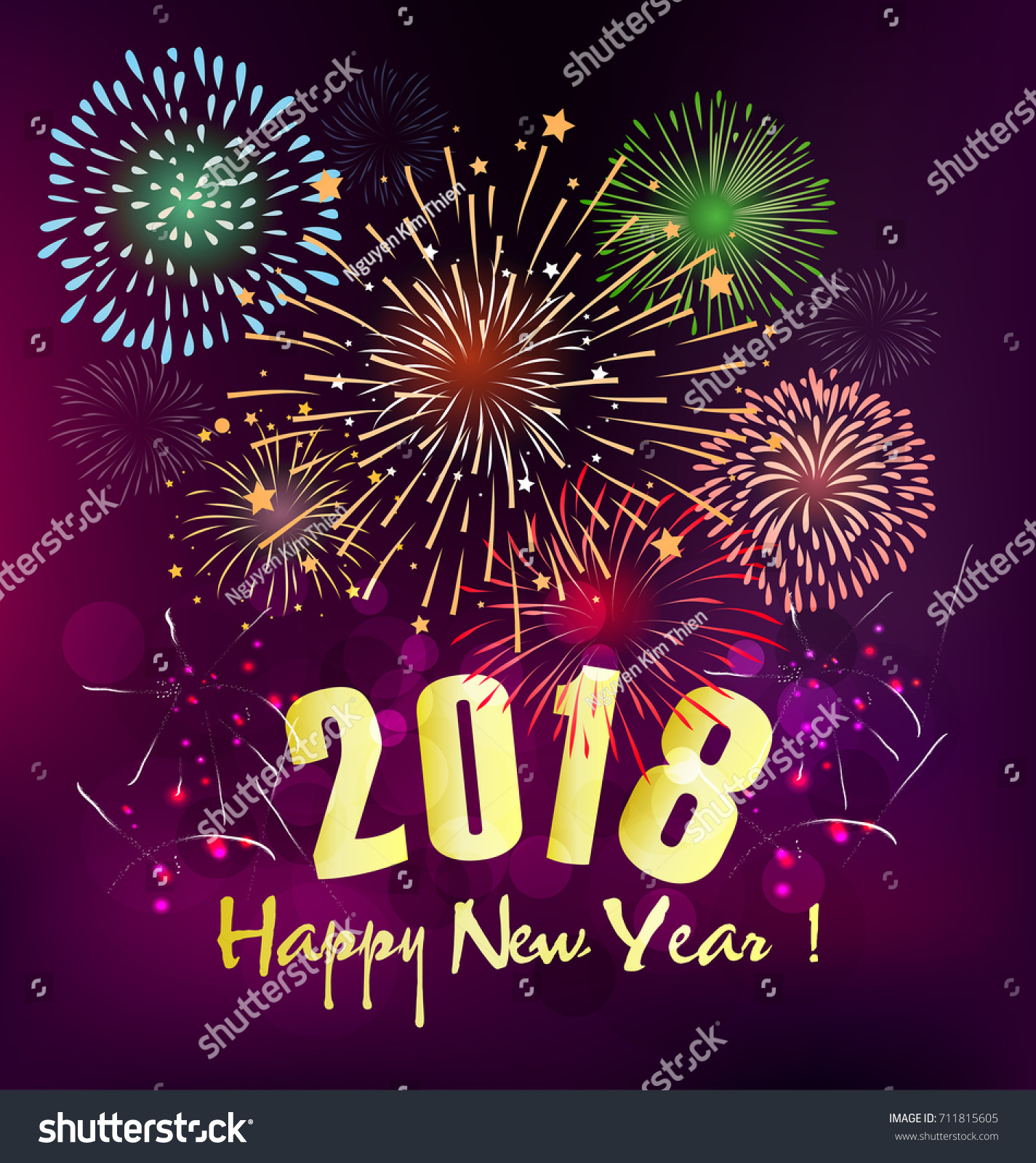 Happy New Year 2018 Greeting Card Stock Vector 711815605