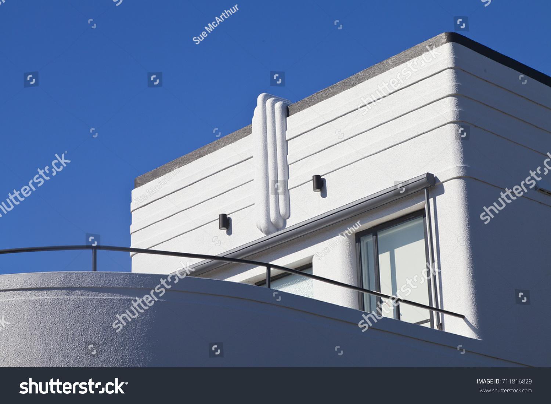art deco blue building bondi beach stock photo royalty free