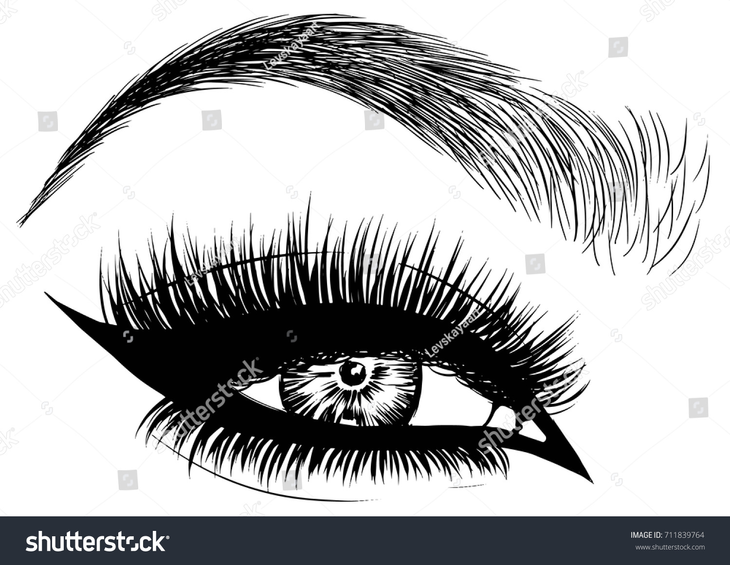 Cat Eye Makeup Stock Vector Royalty Free 711839764 Shutterstock