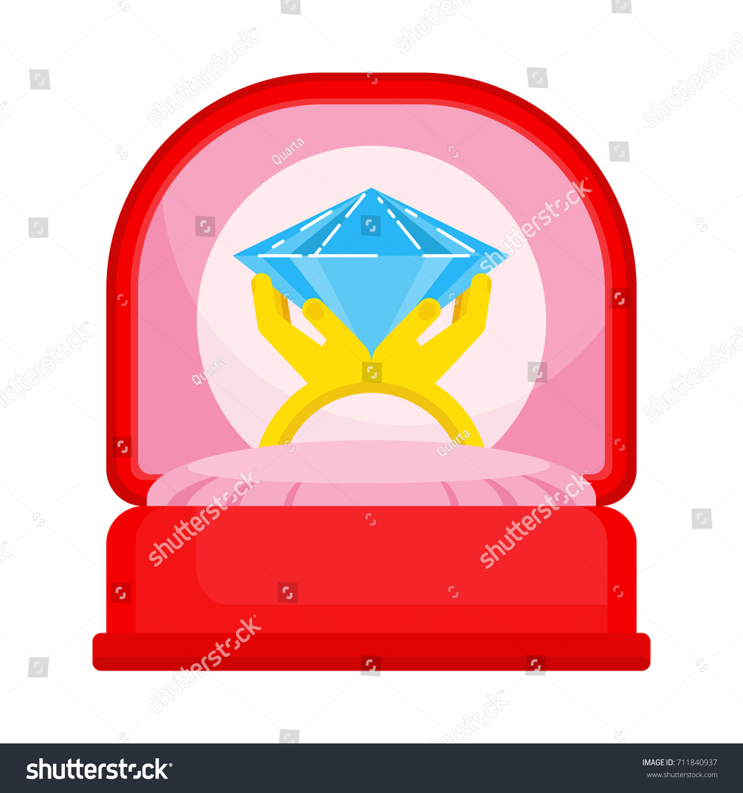 Ring Red Box Flat Vector Isolated Stock Vector 711840937 - Shutterstock