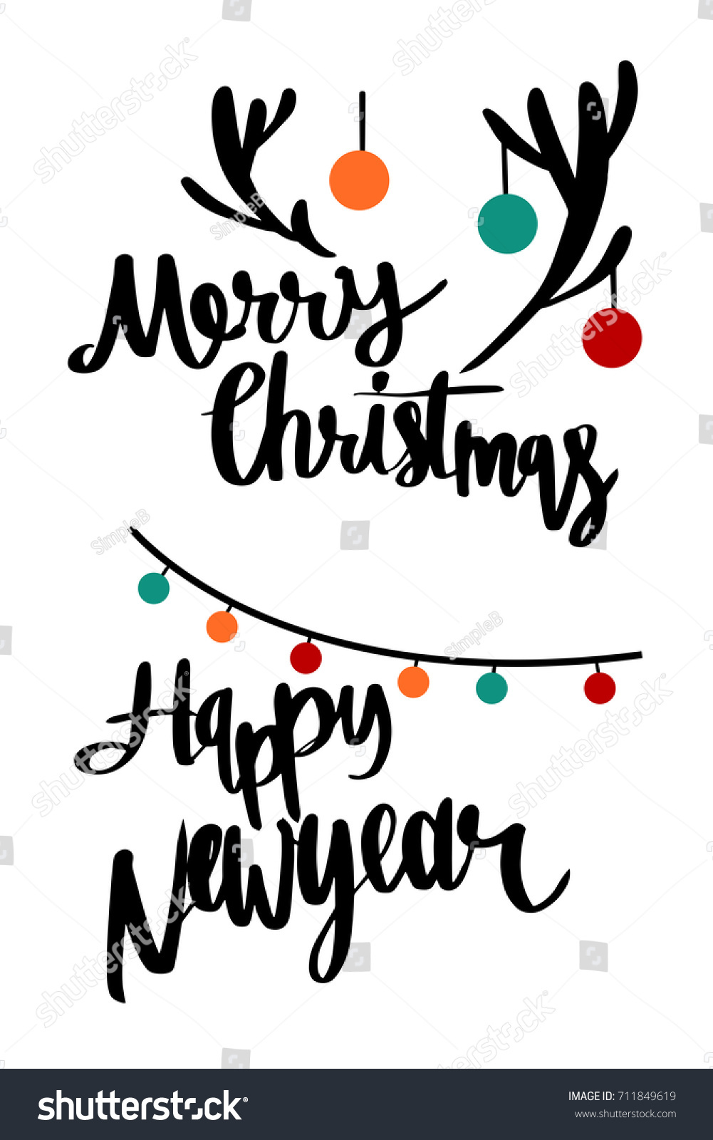 merry christmas and happy newyear minimal design style illustration vector greeting and invitation card design