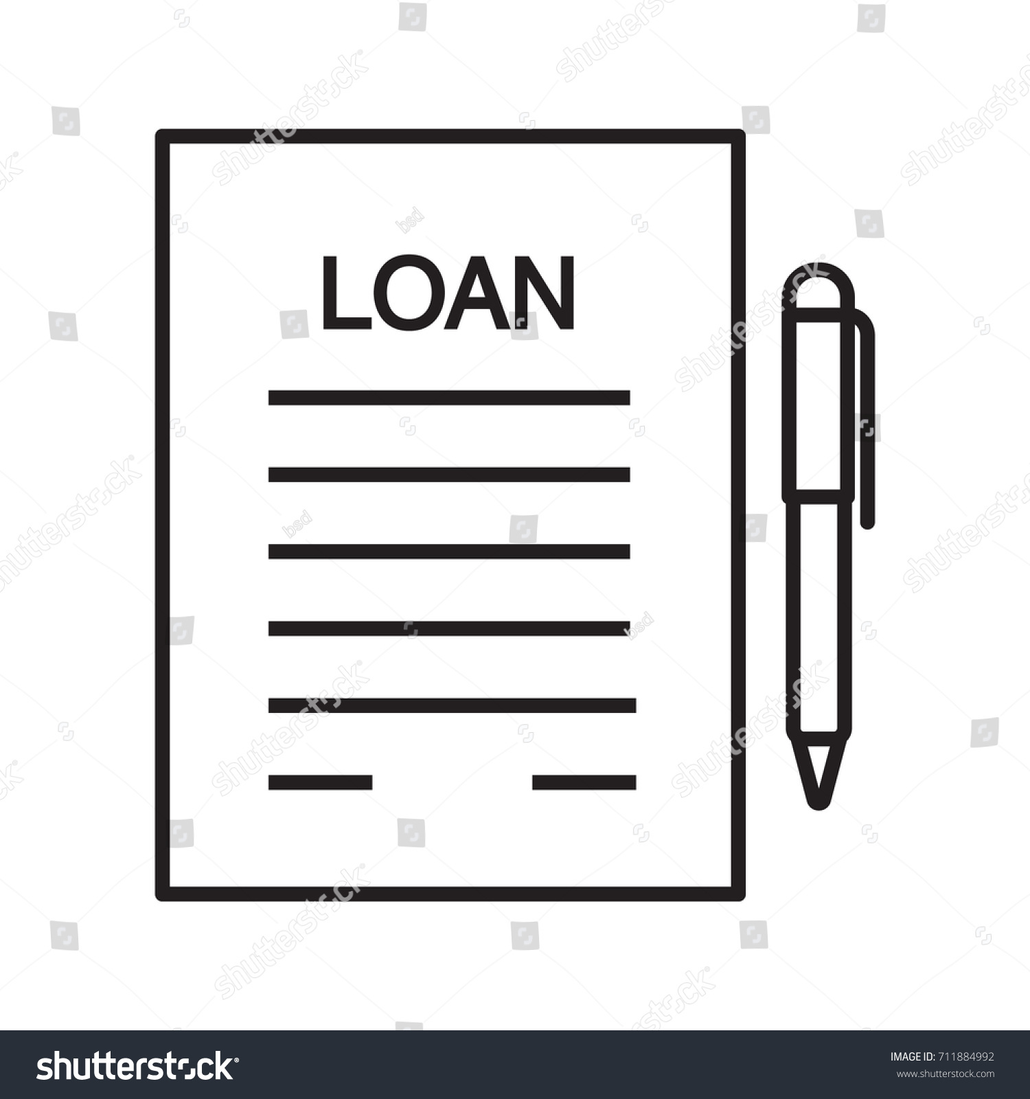 Loan Agreement, Contract Linear Icon. Mortgage Document Thin Line  Illustration. Loan Paper With