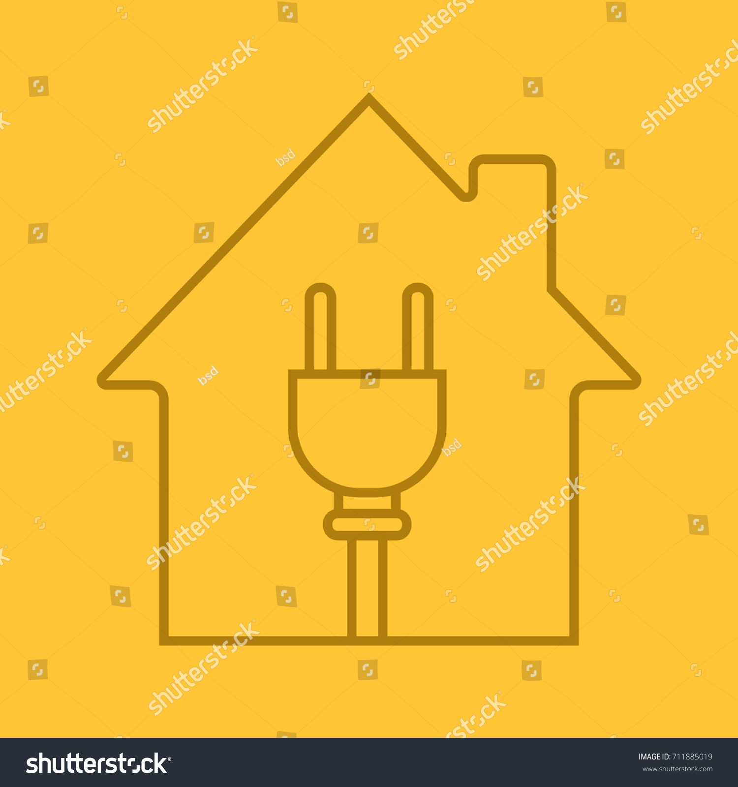 House Wire Plug Inside Linear Icon Stock Illustration 711885019 Home Wiring With Electric Utilities Electrification Thin Line