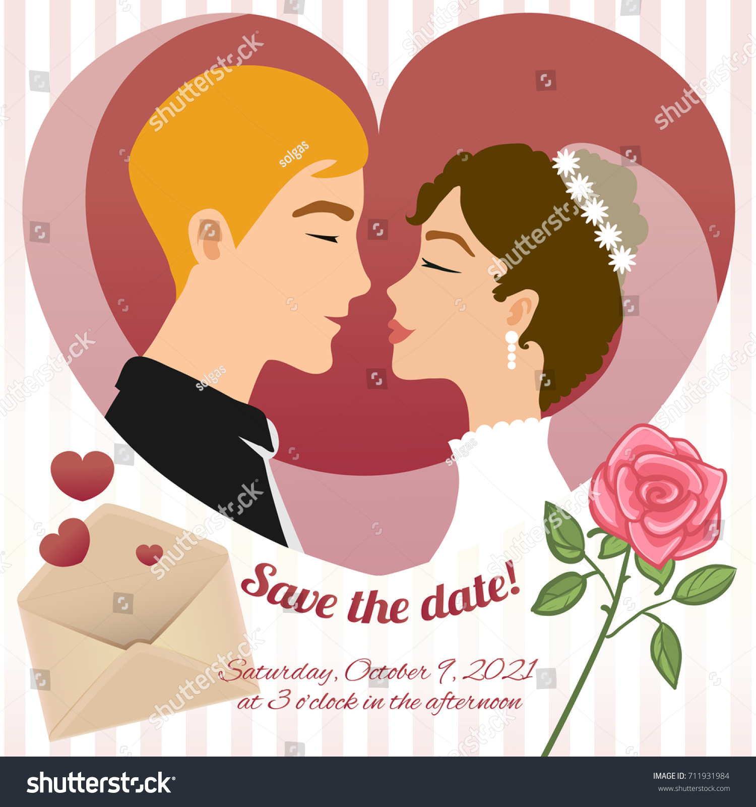Invitation Card Wedding Young Couple Rose Stock Vector (Royalty Free ...