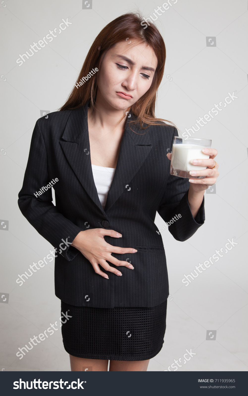 719bf99980f Asian Woman Drinking Glass Milk Got Stock Photo (Edit Now) 711935965 ...