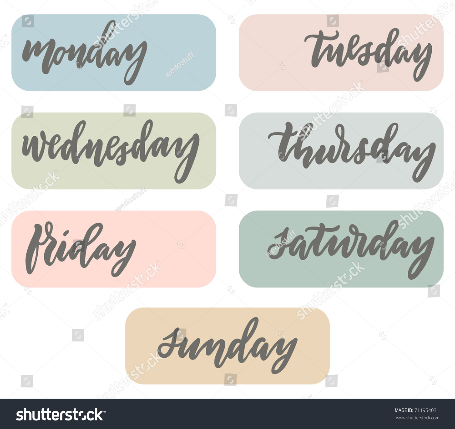 weekdays planner bujo stickers modern calligraphy stock vector