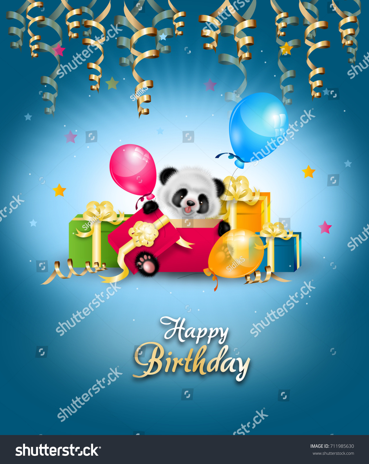 happy birthday greeting card with panda opening gifts