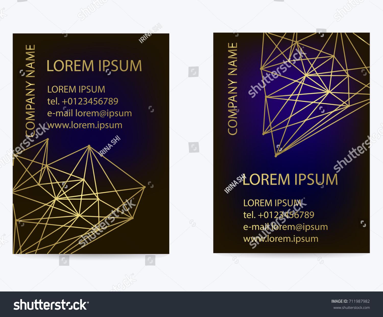Black Business Card Geometric Pattern Gold Stock Vector 711987982 ...