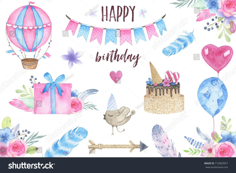 Watercolor Happy Birthday Party Set Bird Stock Illustration