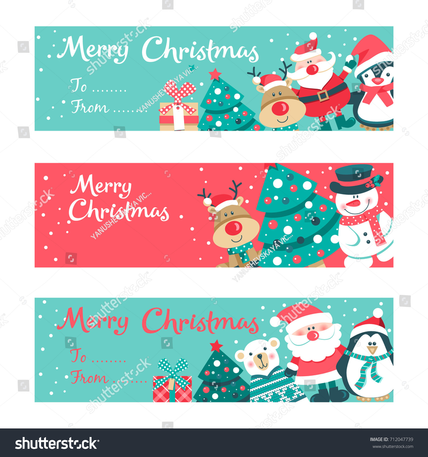 Set Of Six Christmas Greeting Cards With Fir Tree Balls Baubles
