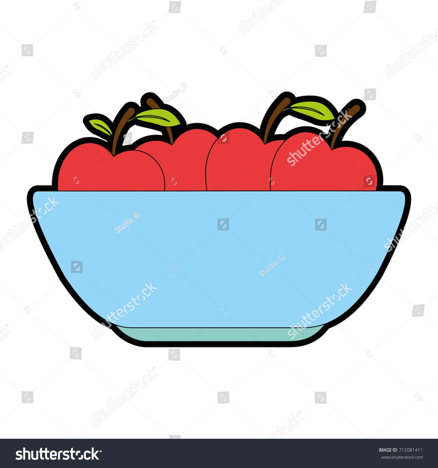 Kitchen Plastic Bowl Apples Stock Vector (Royalty Free) 712081411 ...