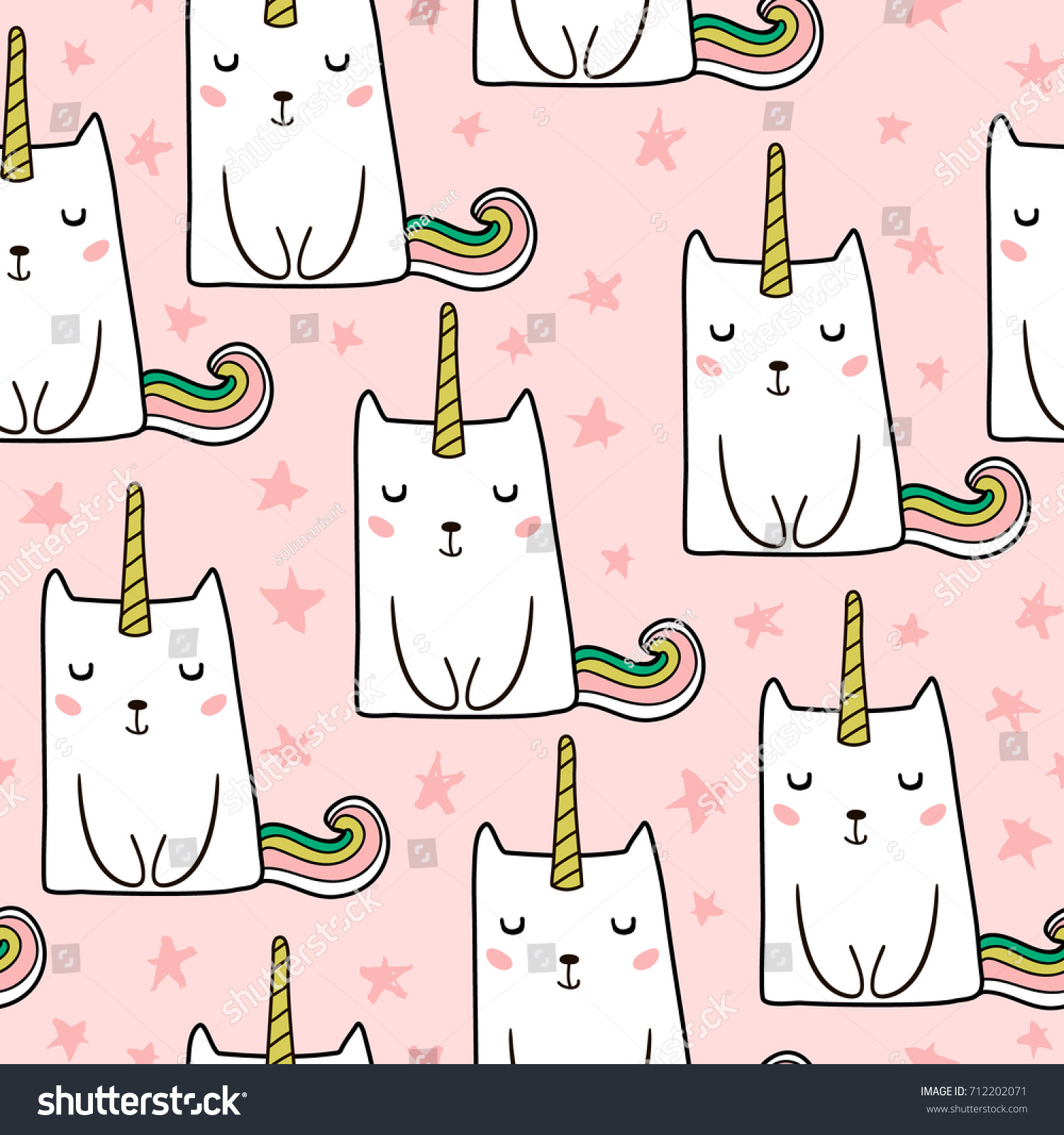 Seamless Pattern Hand Drawn Cute Cats Stock Vector Royalty Free
