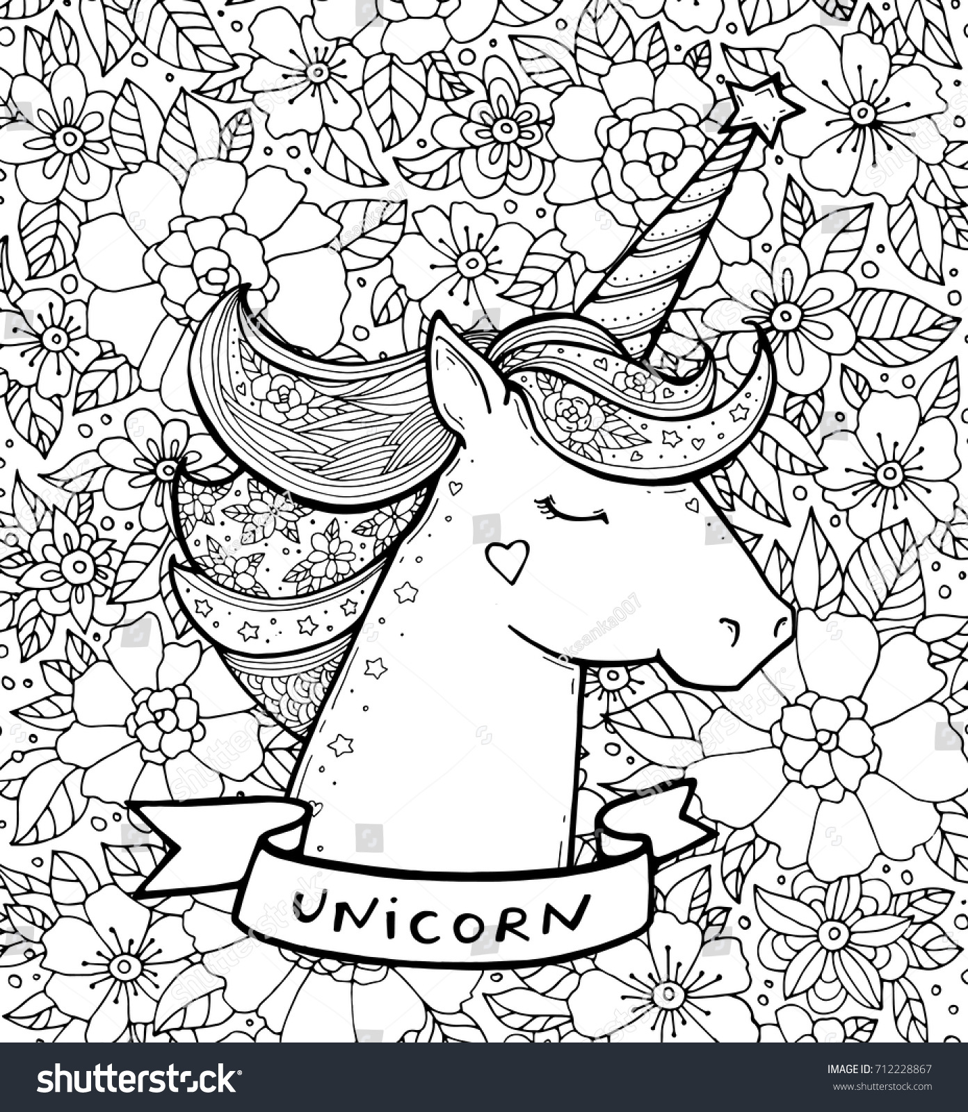 Unicorn Text Flower Pattern Magical Animal Vector Artwork Black And White
