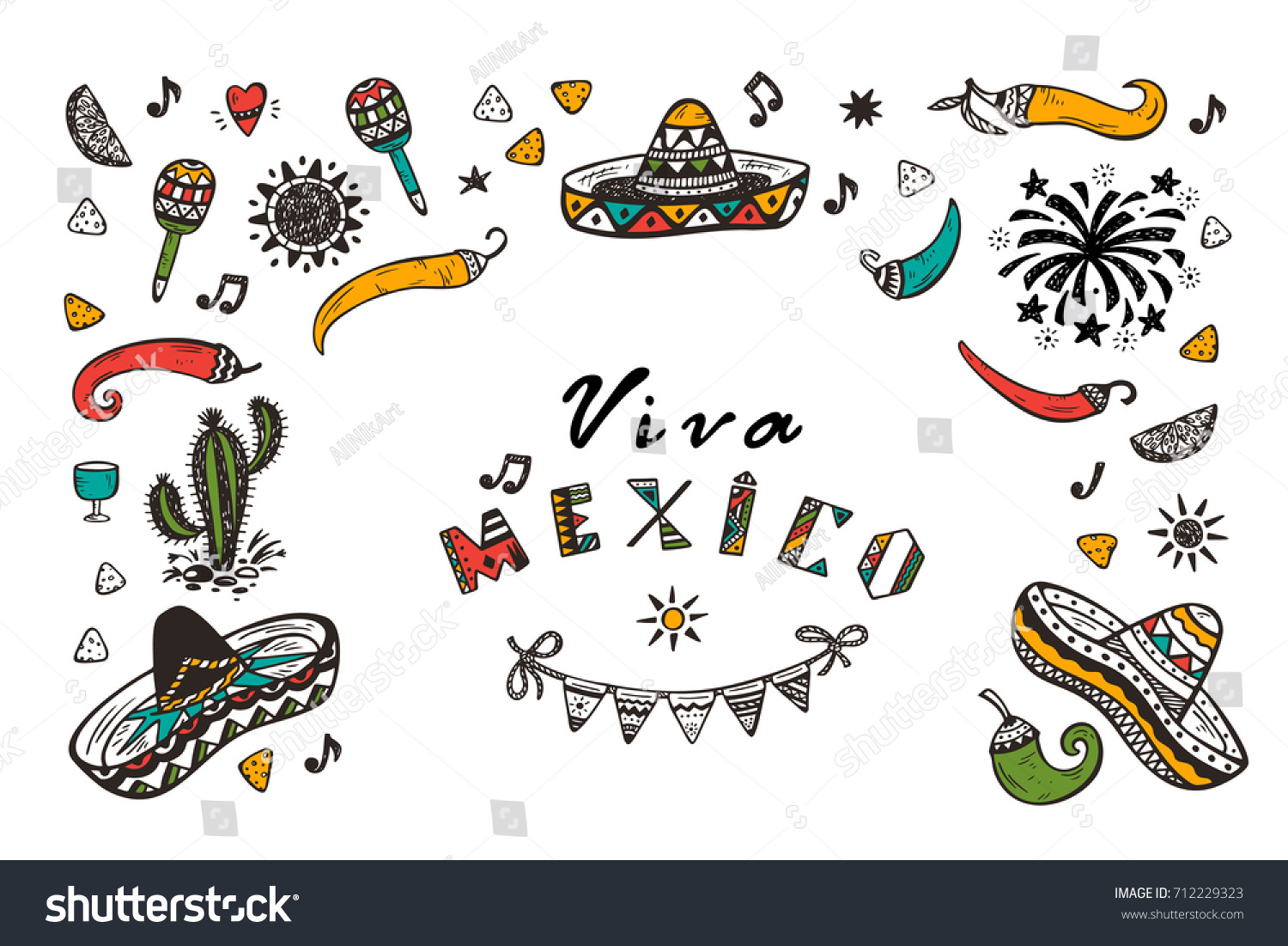 Viva Mexico Vector Greeting Card Hand Stock Vector Royalty Free