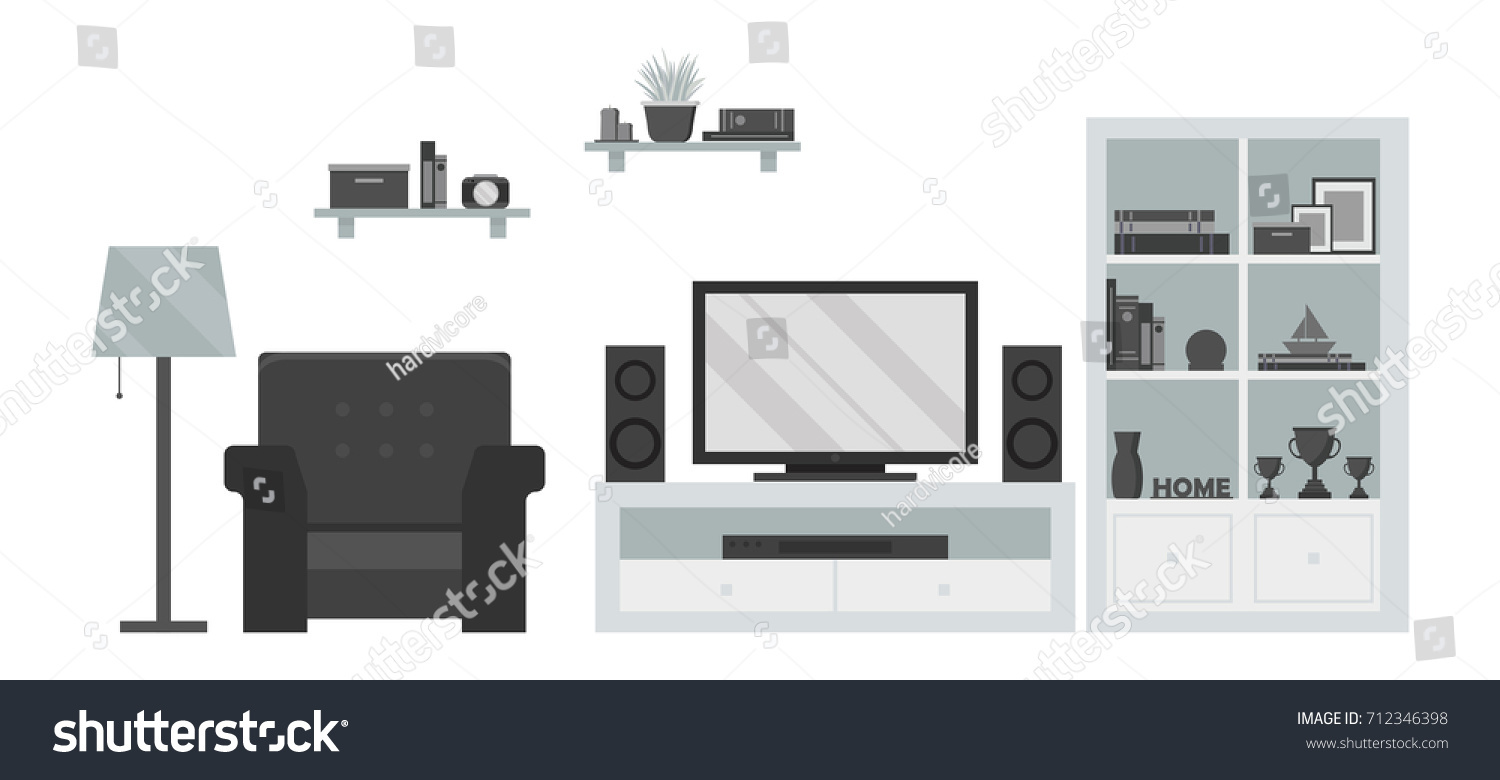 Modern Living Room TV Zone Armchair Stock Photo (Photo, Vector ...