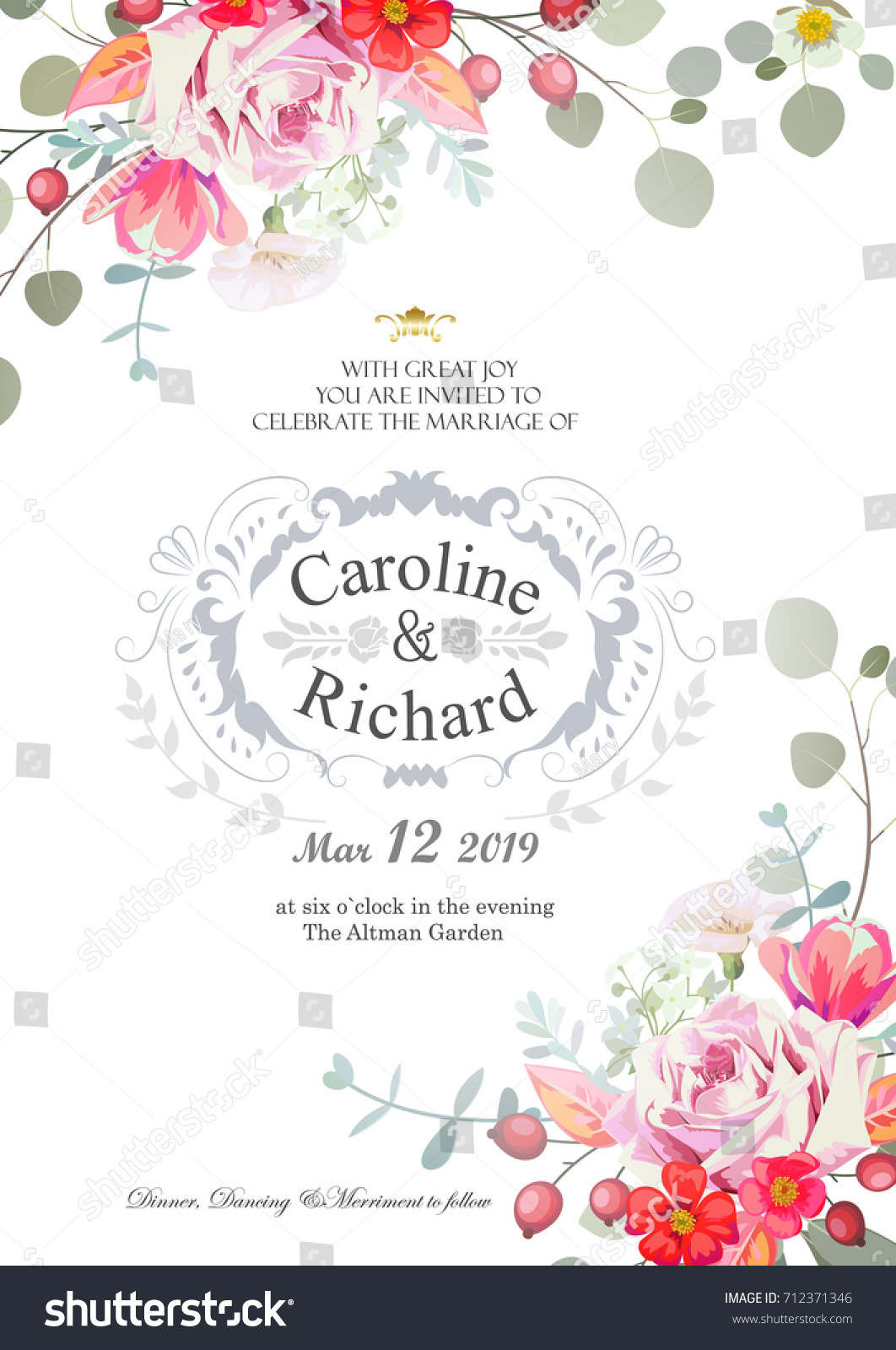 Save the date, wedding invitation card with hand drawn flower ...