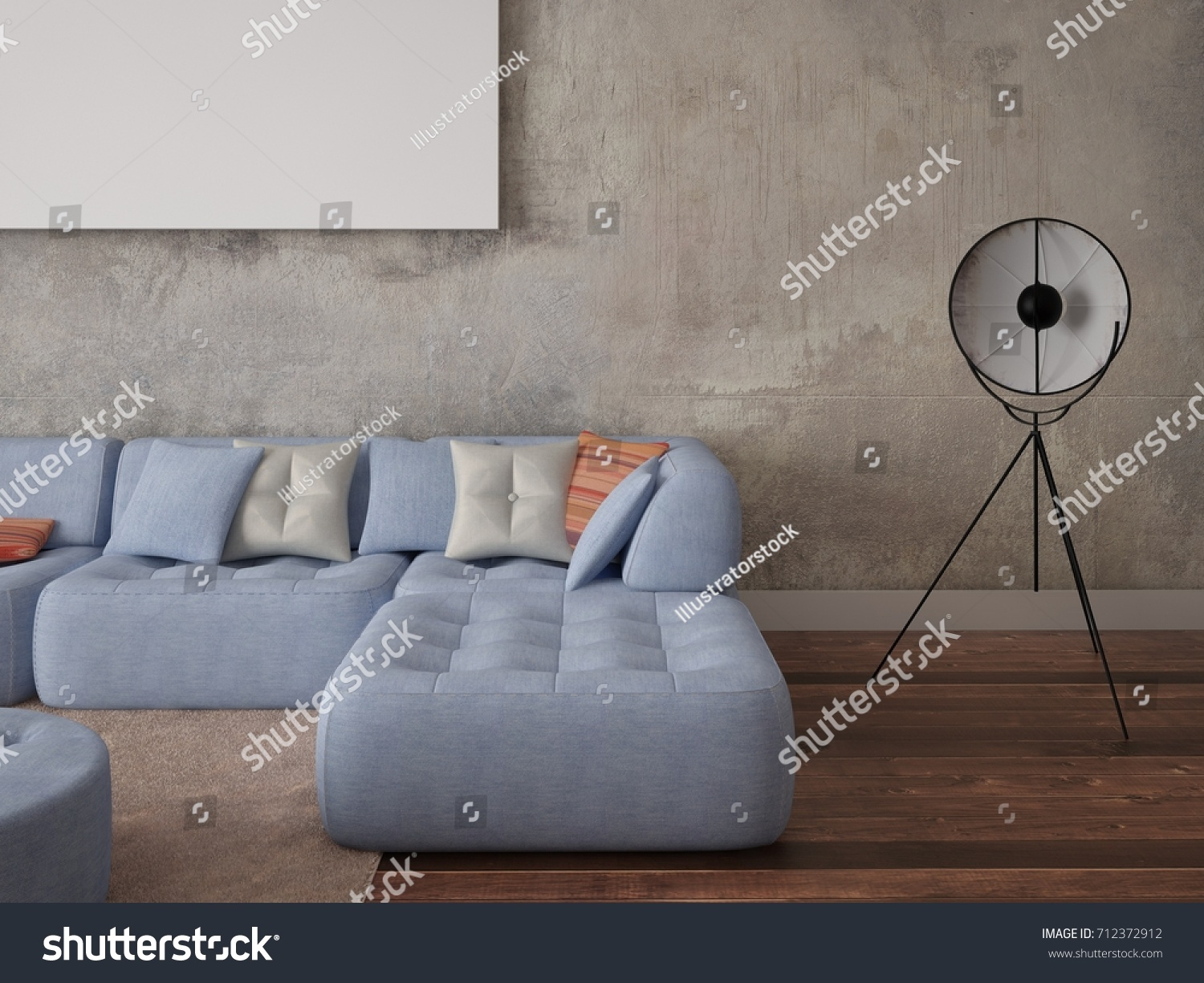 Mock Stylish Living Room Chic Sofa Stock Illustration 712372912  # Meuble Tv Ypster