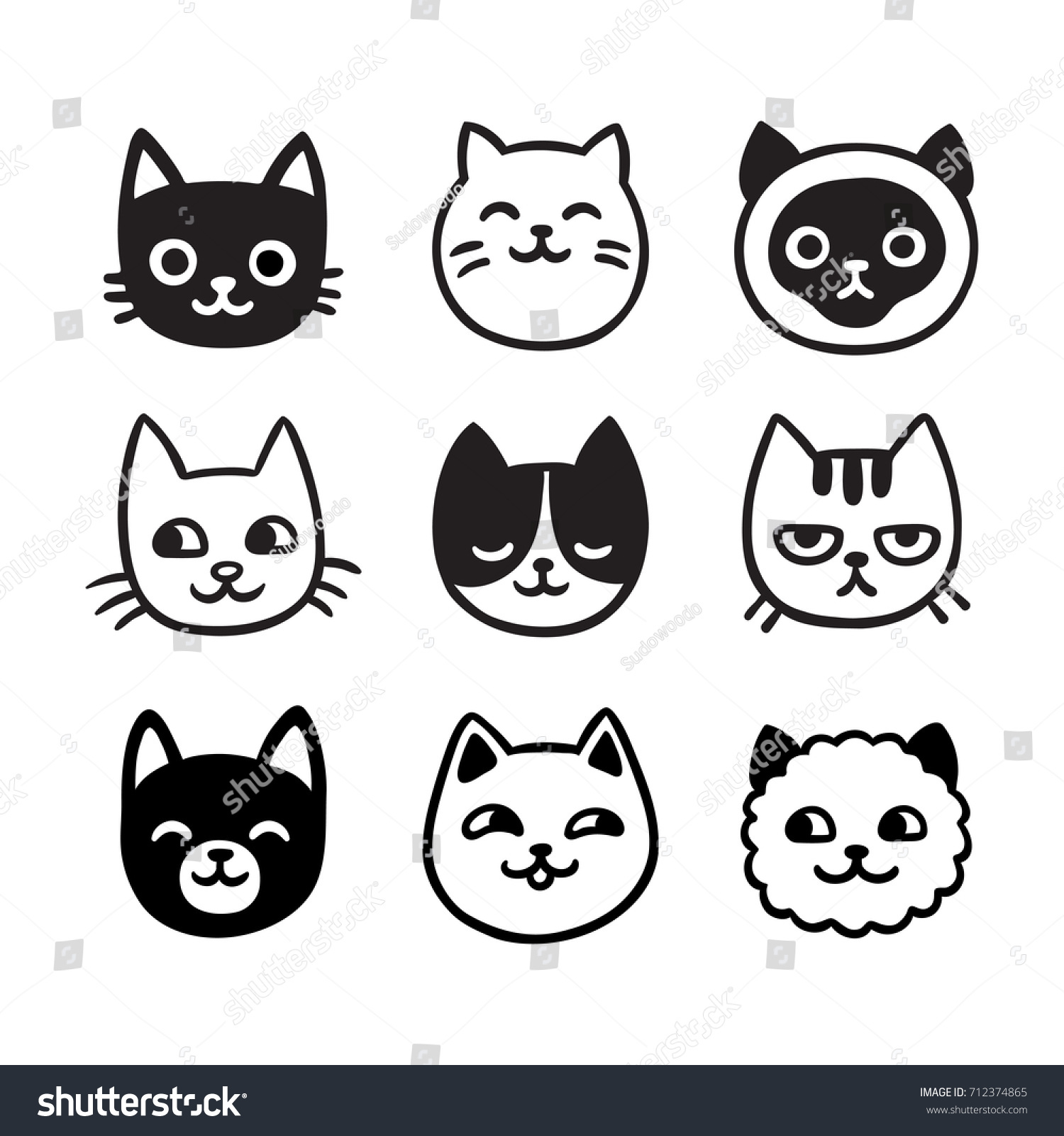 Cute Cartoon Cat Doodle Funny Icons Stock Illustration Royalty