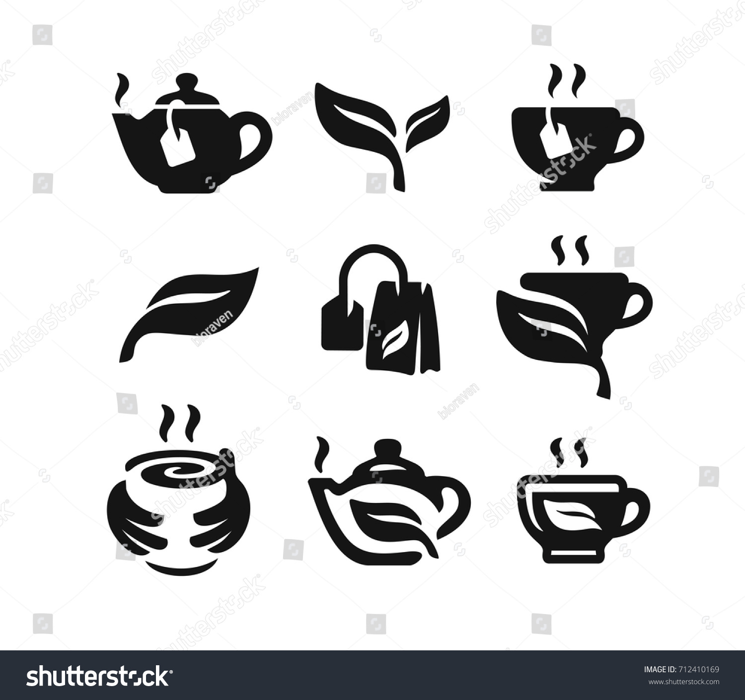 vector black tea icon on white stock vector royalty free 712410169 shutterstock
