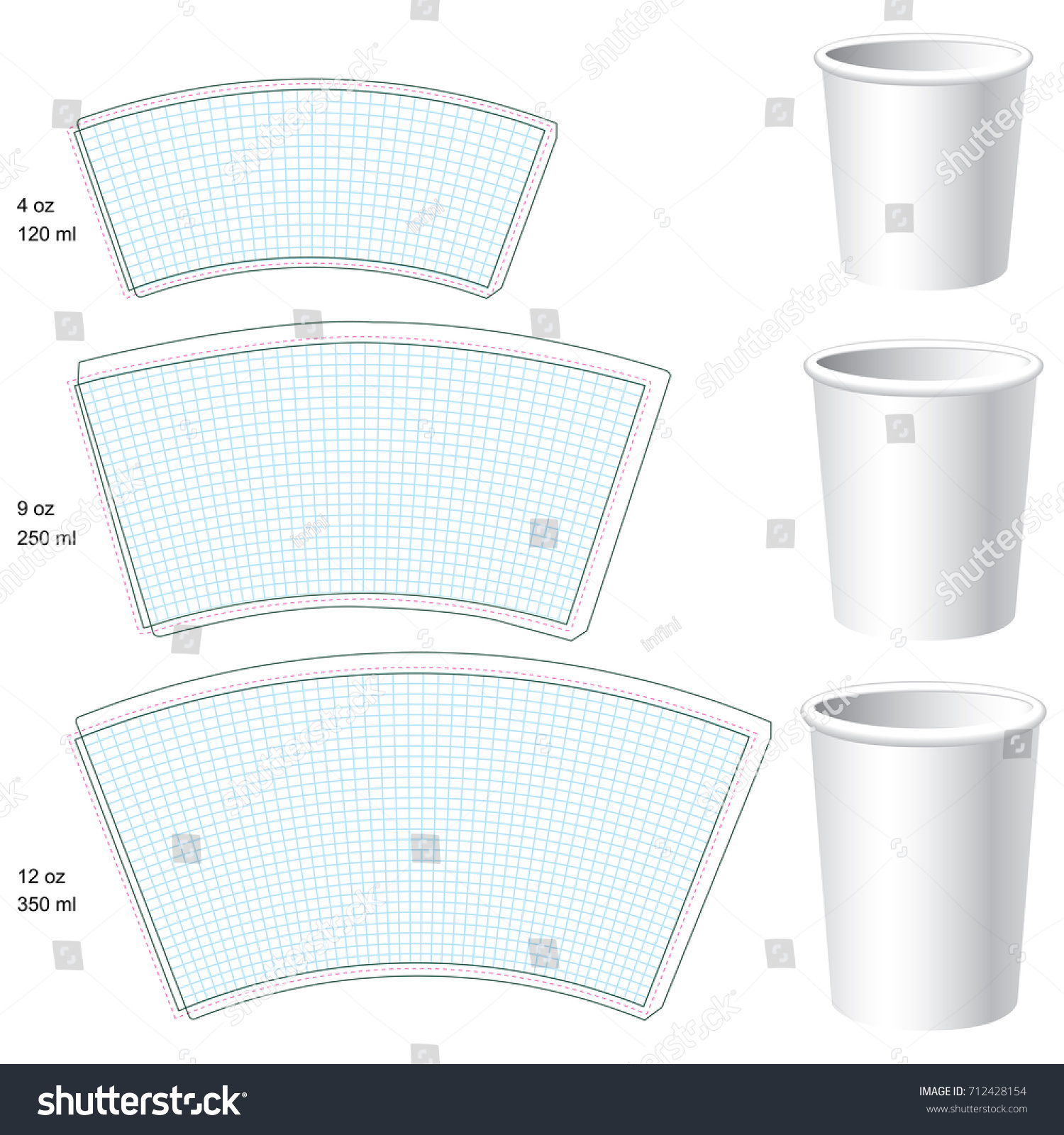 paper cup vector blank templates 3 stock vector royalty free
