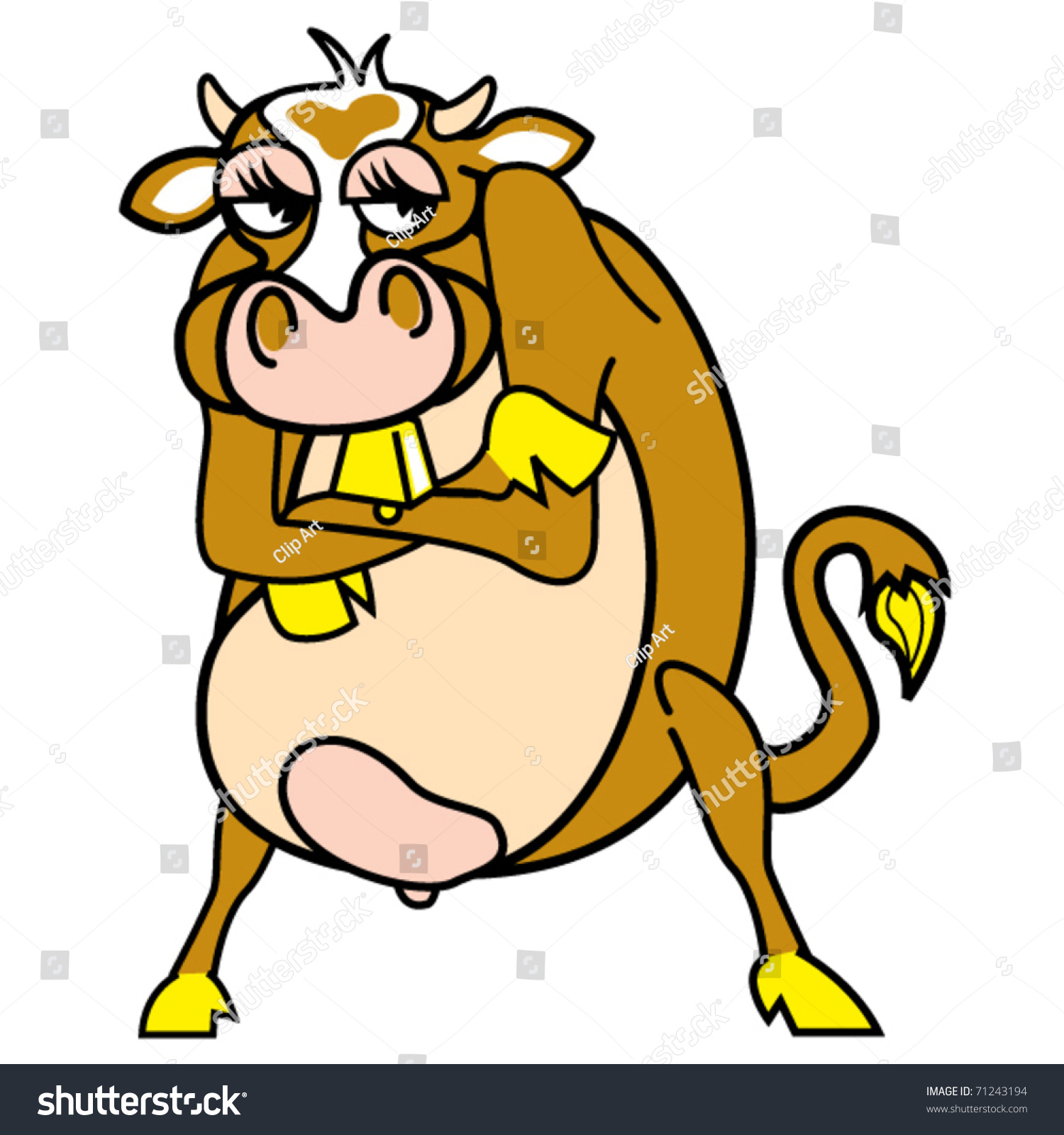 funny cute cartoon cow mad angry stock vector 71243194