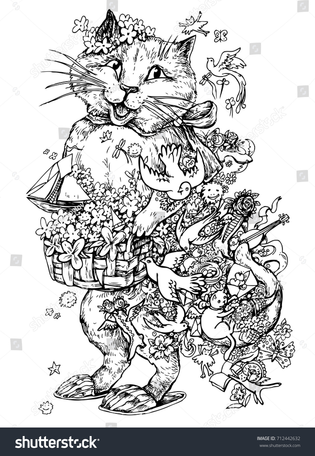 Drawing Of A Cat With Basket Flowers In The Style Zentangle For Colouring