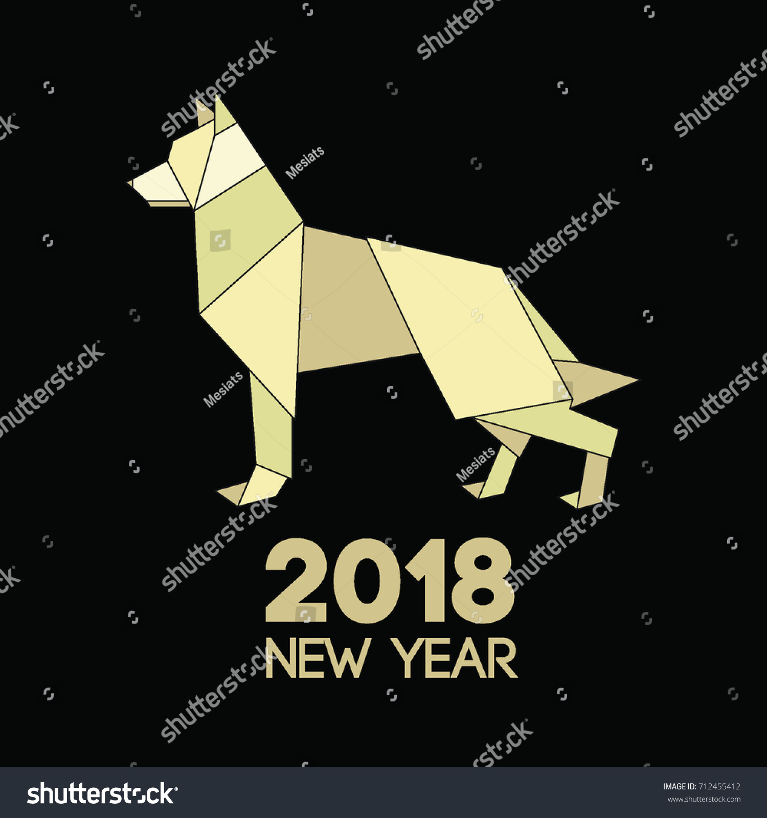 Triangle And Origami Full Body Dog Polygon New Year Symbol