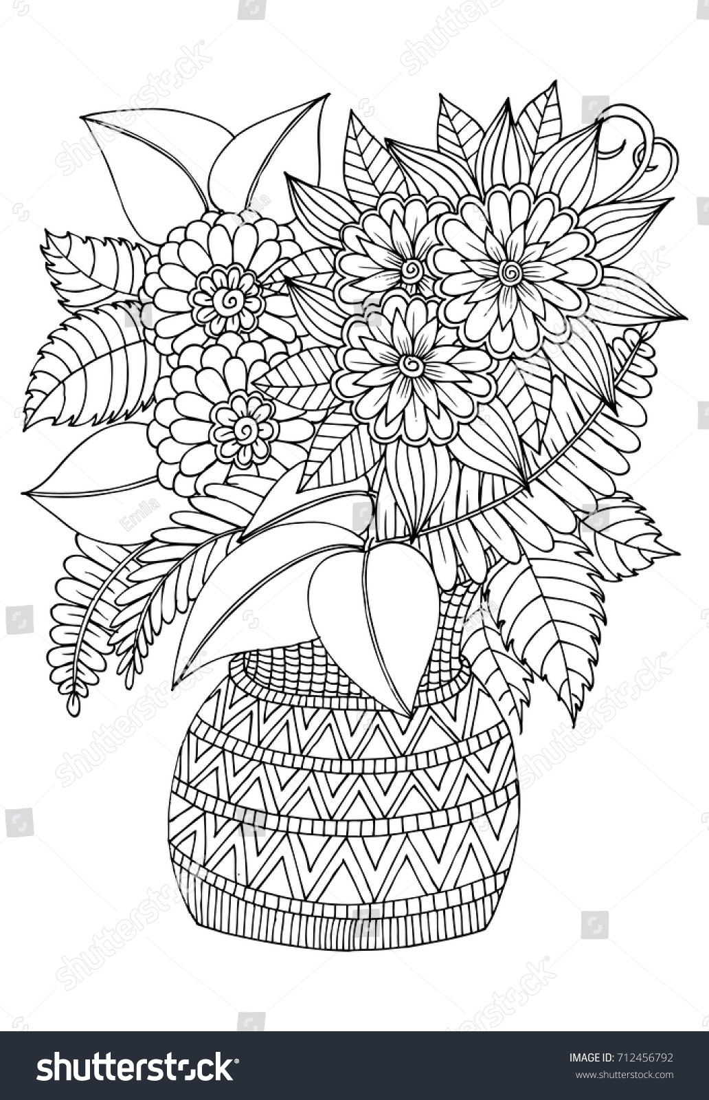 Flower Bouquet Vase Black White Drawing Stock Vector (Royalty Free ...