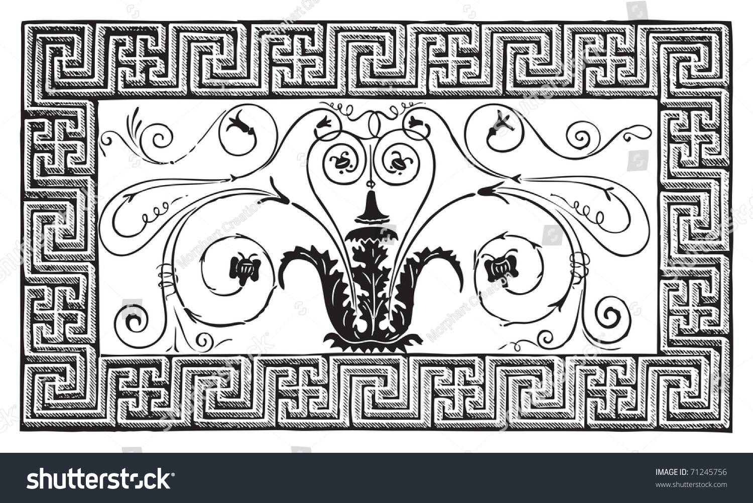 Detail Ancient Roman Mosaic Made Foliated Stock Vector 71245756