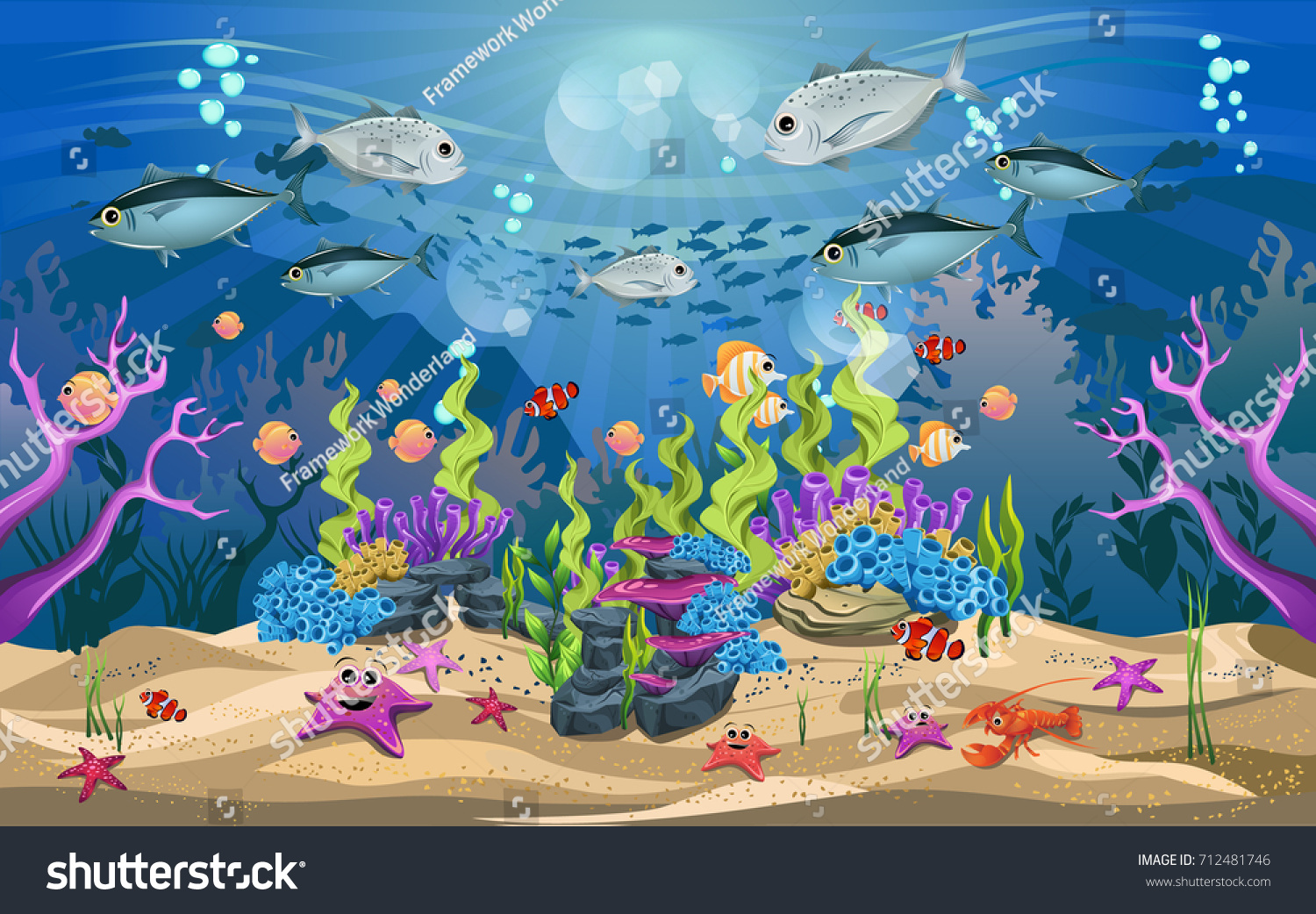 life beautiful ecosystems ocean beauty underwater stock vector