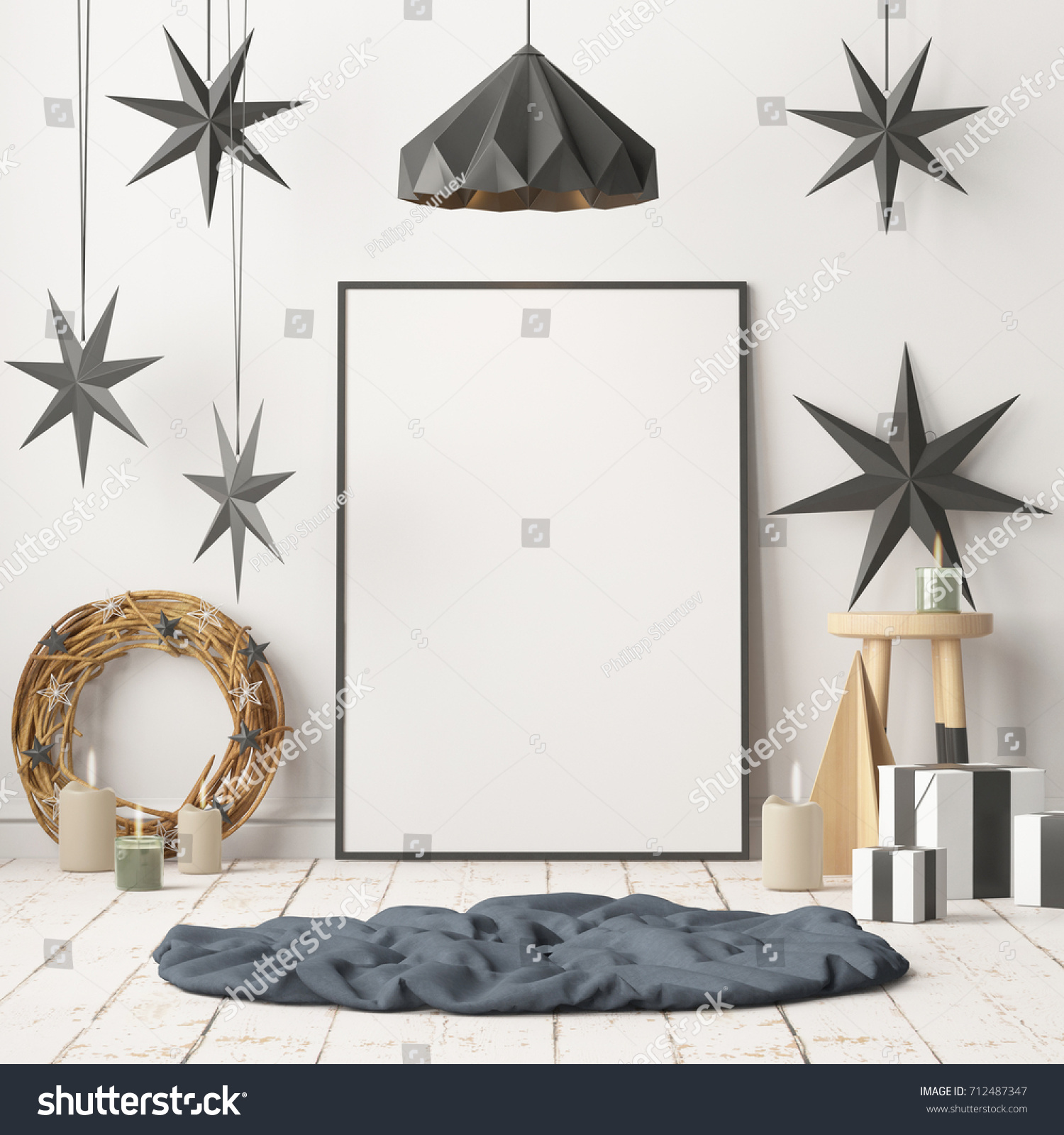 Mock Poster Christmas Interior Scandinavian Style Stock Illustration