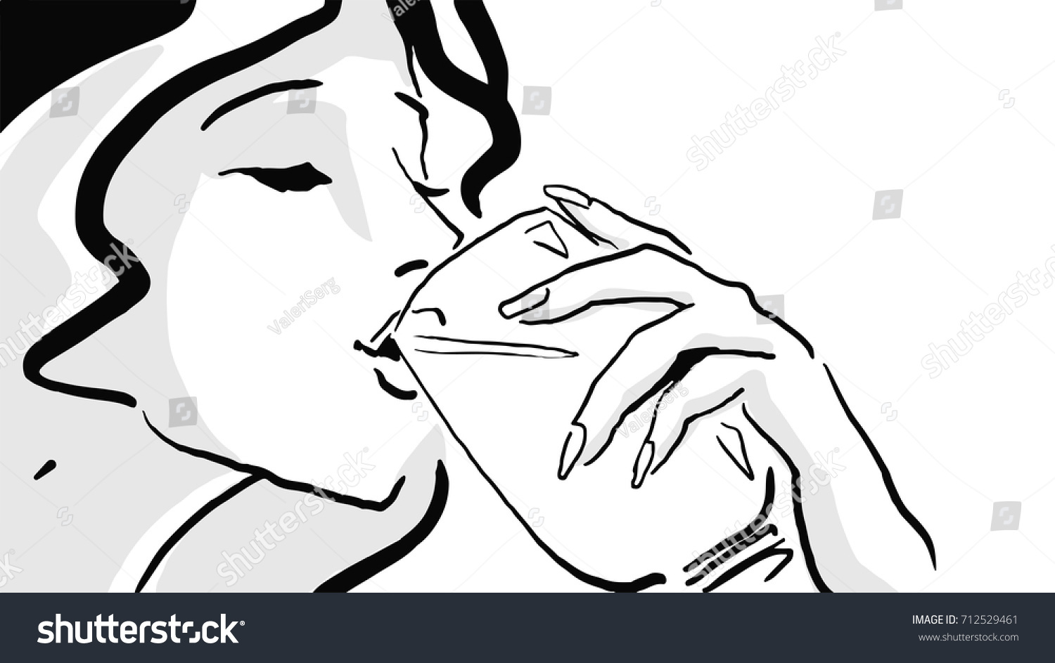 Line Drawing Face Woman : Woman drinking glass black white drawing stock illustration