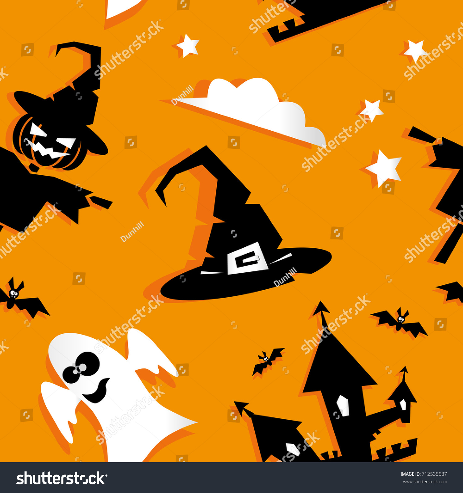 Seamless Halloween Background Funny Pumpkin Ghost Stock